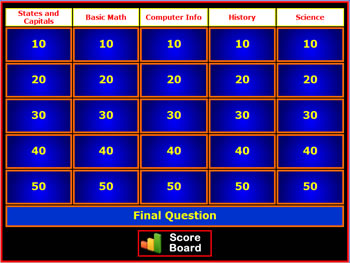 Jeopardy Style Review Game Creator